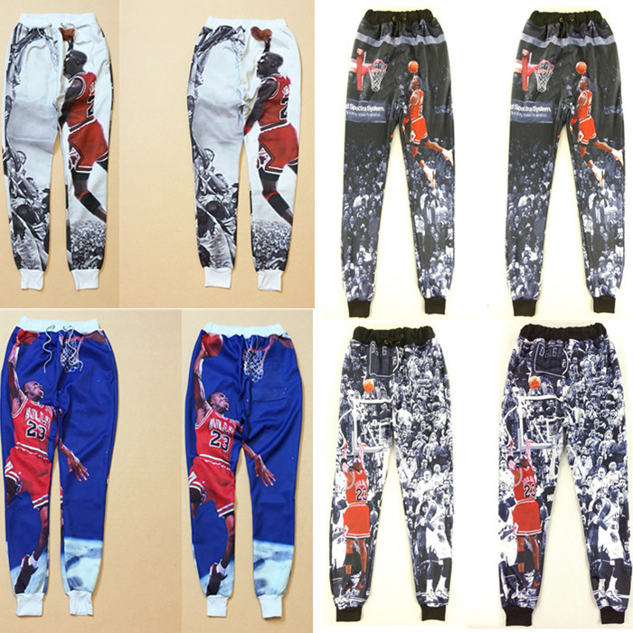4776e60458a 2016 Autumn/Winter Loose new fashion summer men joggers pants 3D print Jordan  basketball spring sweatpants trousers-in Harem Pants from Men's Clothing on  ...