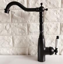 Черный Масло втирают Бронзовый Керамика ручка Кухня раковина кран умывальник, смесители одно отверстие бортике смесители Wnf370