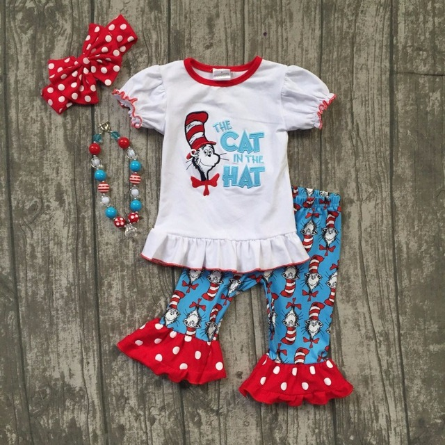 67e0dce677b1e Aliexpress.com : Buy girls boutique SUMMER clothing children the cat in the  hat outfits children girls summer boutique outfits with accessoreis from ...