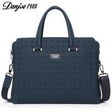 2016 DANJUE British Style For 14″ Laptop Fashion Transverse Shoulder Bags High Quality Genuine Cowhide Solid men Laptop bag DJ07