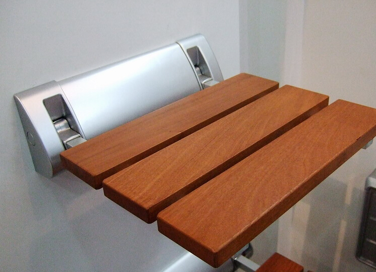 Modern Teak Wood Folding Shower Seat Wall Mounted Shower Seat Size 310x300mm In Bathroom Chairs