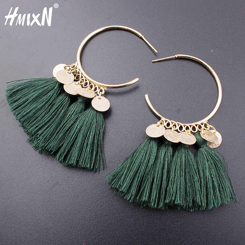 2019 vintage Ethnic Bohemia Drop Dangle Long Rope Fringe Cotton Tassel Earrings Trendy Sector Earrings for Women Fashion Jewelry
