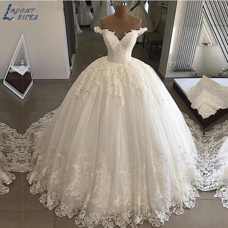 SHJ219 Robe de mariage יוקרה כדור שמלת חתונת שמלות 2019 תפור לפי מידה תחרה עד בחזרה בציר כלה שמלות Vestido דה Noiva
