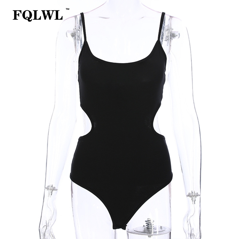 FQLWL Hollow Out Black Backless Bodysuit Sleeveless One Piece Skinny Sexy Jumpsuit Short Beach Swimsuit Women Summer 2018 Romper