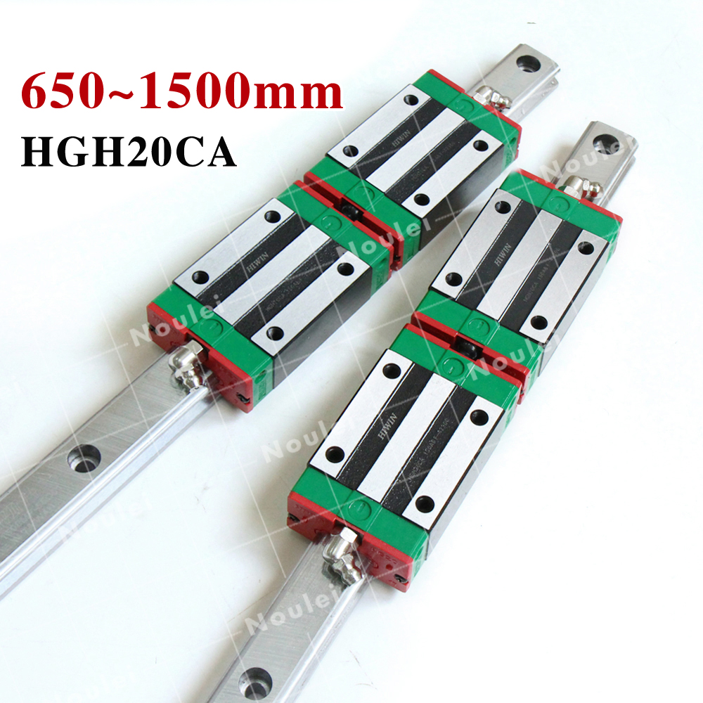 20mm HIWIN HGR20 Linear Rail, 2pcs HGH20 1000mm Guides +4pcs HGH20CA Blocks set for CNC 2pcs sbr25 l1500mm linear guides 4pcs sbr25uu linear blocks for cnc