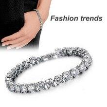 Fashion Bracelet Elegant Lady Luxury Silver with Crystal Chain Bangle Fashion Gift Charm Party Wedding Jewelry Bracelet