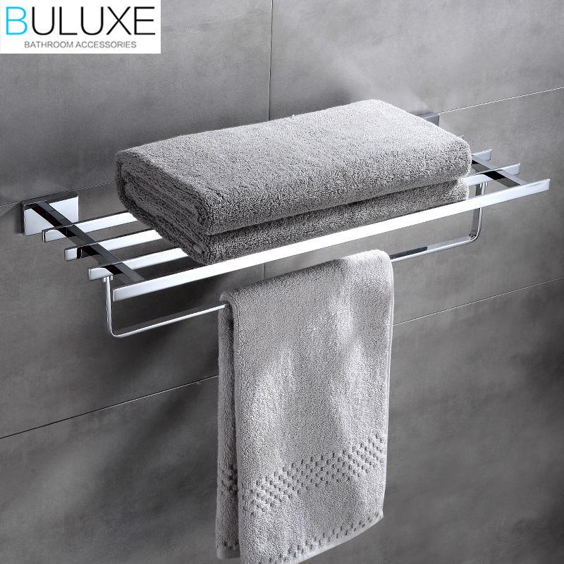 BULUXE Brass Bathroom Accessories Towel Bar Rack Holder Chrome Finished Wall Mounted Bath Acessorios de banheiro HP7761