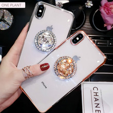 Luxury Electroplated Phone Case Full Drill Bracket For iPhone 11 Pro X XS MAX XR Soft Silica gel Cover For iPhone 7 8 6 6S Plus oneplant electroplated love heart phone case for iphone 11 pro max xr xs x xs max silica gel phone cover for 7 8 6 6s plus