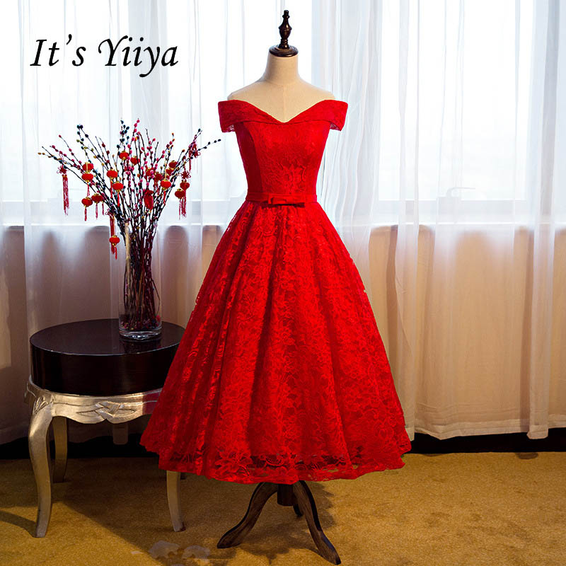 It's YiiYa Sweetheart Red Off Shoulder A Line Tea Length