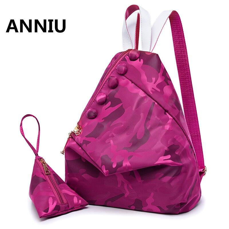 Sac à dos imperméable en Nylon femmes Mochila Feminina Camouflage décontracté Daybacks marque célèbre deux PCS un ensemble Dumplings sac à bandoulière