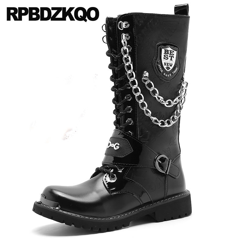 Fashion Mid Calf Mens Leather Tall Boots Motorcycle Combat Rock Punk Fur Shoes Army Waterproof Military Winter Metalic Plus SizeFashion Mid Calf Mens Leather Tall Boots Motorcycle Combat Rock Punk Fur Shoes Army Waterproof Military Winter Metalic Plus Size