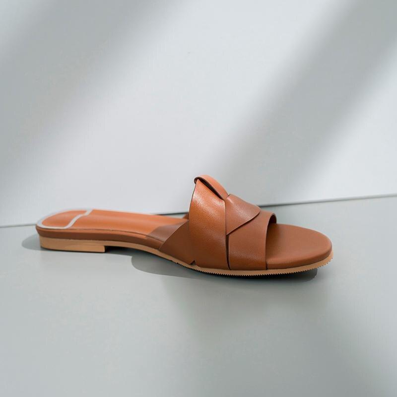 Ayakk.'ten Terlikler'de Krazing Pot yeni marka hakiki deri peep toe slaytlar düz yaz terlik özlü dairywear modeli gösterisi tembel plaj ayakkabısı l55'da  Grup 2