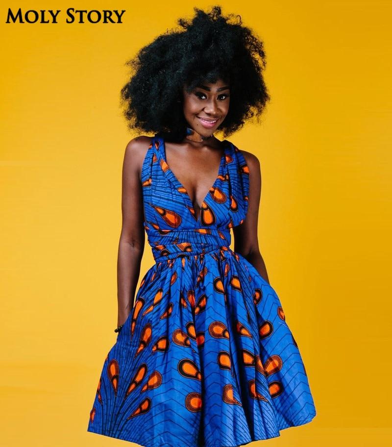 Elegáns térd hosszú Bohém ruha 3D-s nyomtatási ruhák Kék - Női ruházat