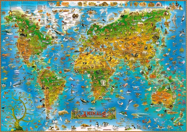 Free shipping Fun cartoon version of the world map 500/1000/1500 ...
