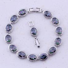 Vesplendent Радуга Мистик кристалл серебро Цвет модные Браслеты с подвесками для Для женщин Свадебная вечеринка Мода Jewelry d0088