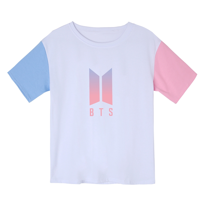 2019 New Style Bts T Shirts Women Fashion Harajuku Summer Bangtan Boys T-shirt Girl Pure Cotton Gradient Logo Patchwork Contrast Hit Color Tops Elegant In Style