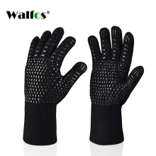Walfos Silica gel Extreme Heat Resistant Baking BBQ Gloves high temperature  Cooking Grilling Oven Mitts