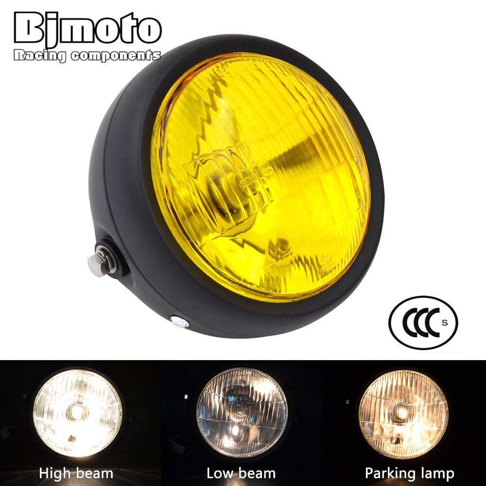 цена на BJMOTO Universal Motorcycle Headlight Headlamp Fog Light Lamp High Beam 40W Low Beam 35W Lights For Honda Yamaha Suzuki Kawasaki