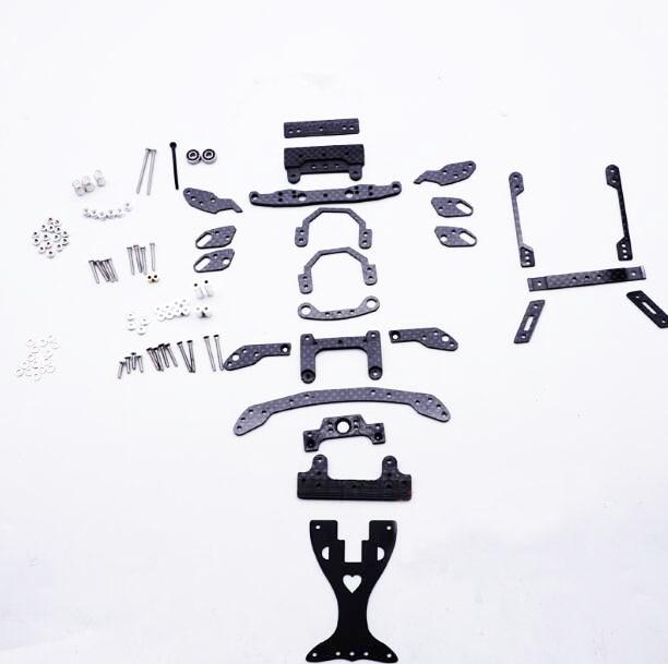 1 ensemble MS châssis en Fiber de carbone pièces Kit Suspension intérieure balançoire poisson pièces de voiture pour Tamiya Mini 4WD modèle de voiture