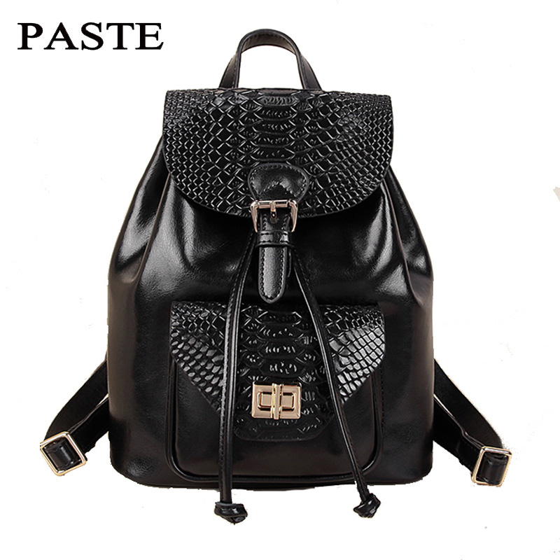 Ladies Knapsack 2018 Fashion Korean College Real Leather Crocodile Casual Shoulder Bag High Quality Bagpack Women