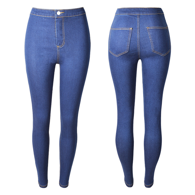 New European And American Large Size Washed Slim Jeans Female Models Tight Elastic Pencil-type Jeans