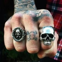 2016 New Punk Rock Mens Biker Rings Vintage Gothic Skeleton Jewelry Antique Silver Dragon Skull Ring Men Skull Rings Size 8-10