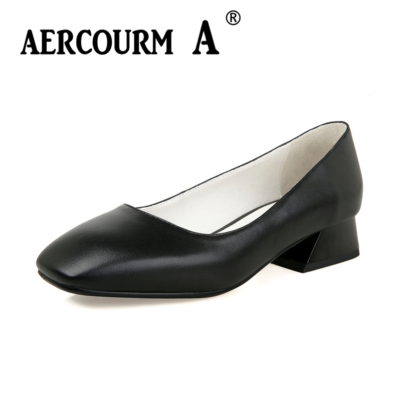 Aercourm A 2018 Fashion Women Pumps Shoes Square Toe Genuine Leather Low Heel Ladies Casual Shoes Solid Color Shoes YWE1001-12 aercourm a 2018 women black fashion shoes female bright genuine leather shoes pearl high heel pumps bow brand new shoes z333