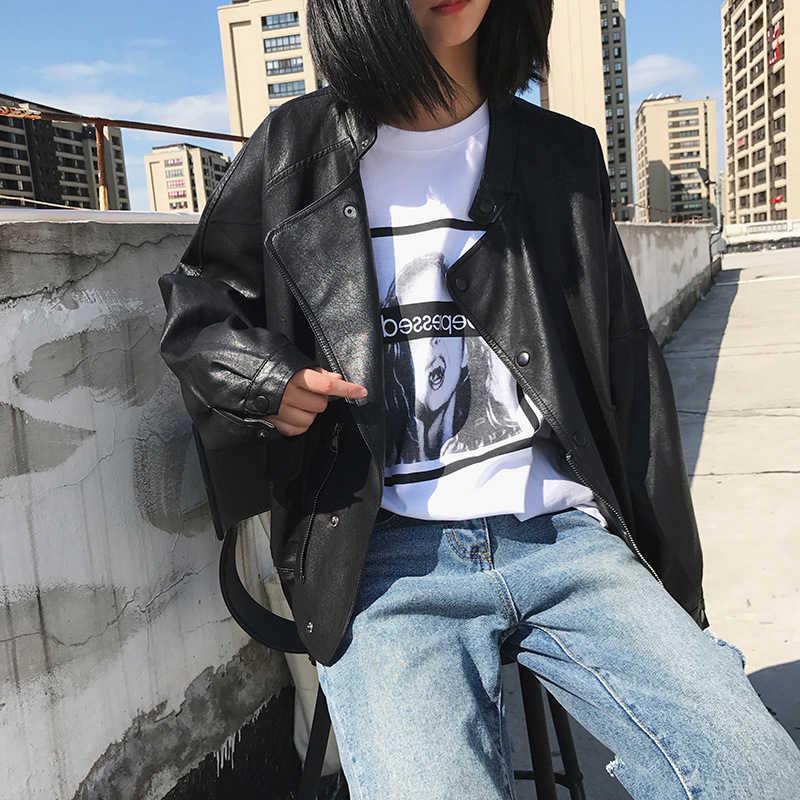 Fitaylor новые свободные Куртки из искусственной кожи для женщин с длинным рукавом черный карман молнии панк верхняя одежда тонкий мотоцикл пальто