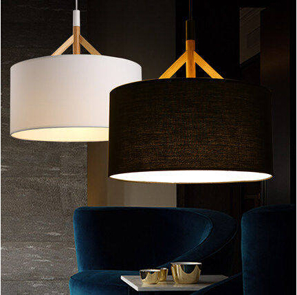 Nordic bois Simple tissu moderne LED pendentif luminaires pour Bar salon salle manger la main Suspension Résultat Supérieur 15 Beau Luminaire Pour Bar Photos 2017 Kqk9