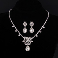 Vintage Bridal Dubai Jewelry Sets Wedding Silver Plated CZ Diamond Statement Necklaces Earrings Aros Parure Bijoux