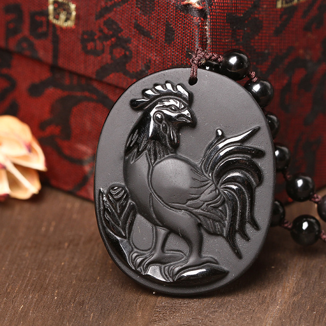 Natural men and women with obsidian zodiac rooster pendant to ward off bad luck in plutus transshipment