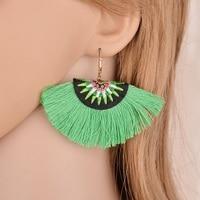Terreau Kathy Bohemian Handmade Cotton Embroidery Fringe Tassel Big Dangle Earrings Ethnic Statement Jewelry Earrings For Women