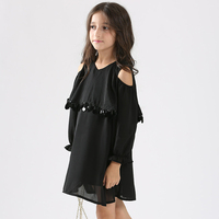 Elegant Teen Girls Dresses Long Sleeve Casual Clothes Wedding Party Black Dress For Girl Children S