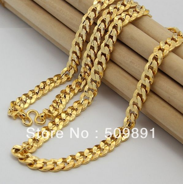 NE1562 New Fashion 8mm Gold Chain Necklace Choker Males Jewelry 24k Vacuum Plating For Anniversary Accessories