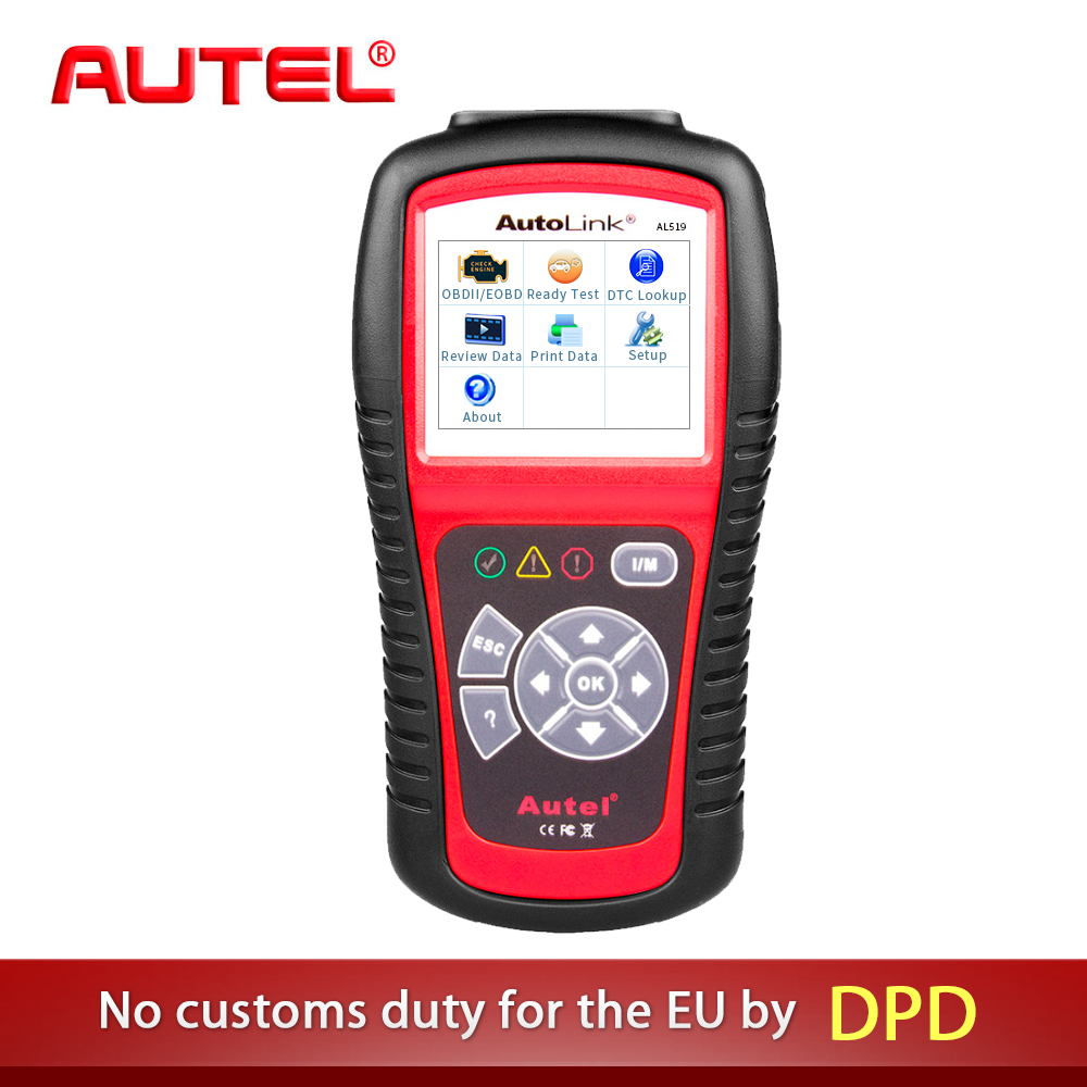 Autel AL519 Diagnostic Tool AutoLink AL519 OBD ll Scan Tool with Mode 6 Fault Code Reader EOBD Diagnostic Tool Scanner one set portable car truck diagnostic scanner tool auto obd 2 kw807 fault code reader scanners with cd