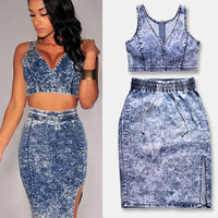 Fashion 2 Pieces 1 Set Sexy Tops Skirt Slim V Neck Drawstring Empire Waist Tie Dye