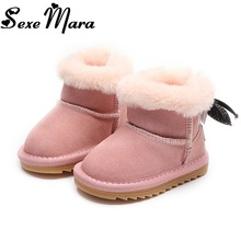 2017 First Walkers Girls Snow Boots Baby Toddler Black Boot Children Genuine Leather 0-1 Years Old Kids Warm Chestnut Ankle Boot(China)