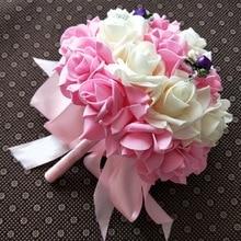 Bridal bouquet Ribbon Wedding Bride holding flower PE Rose Bridesmaid Foam flowers faux