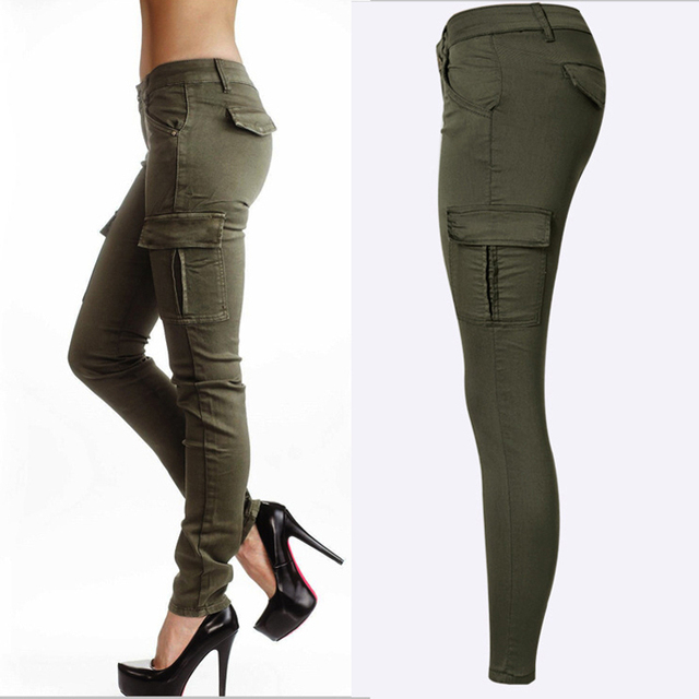 Low Waisted Sports Cargo Pants Sweatpants For Women Slim Joggers Women Trousers Plus Size Military Army Camouflage Female Pants 2