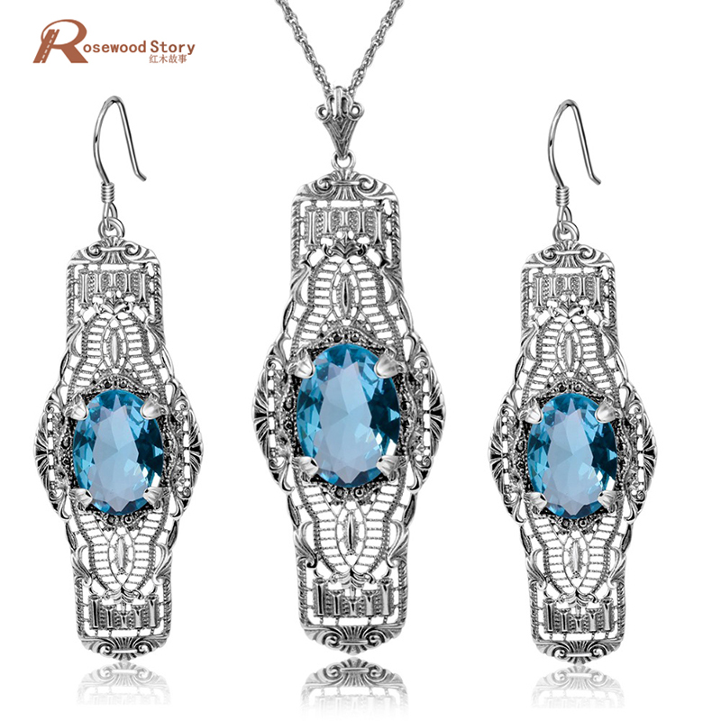 Brand New Vintage 925 Sterling Silver Jewelry Sets Blue Rhinestone Crystal Long Drop Earrings/Pendant/ For Women Free Gift Box цена 2017