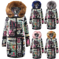 New Fashionable Womens Winter Long Down Cotton Ladies Parka Fur Hooded Coat Quilted Jackets Outwear Students Thick Large Size