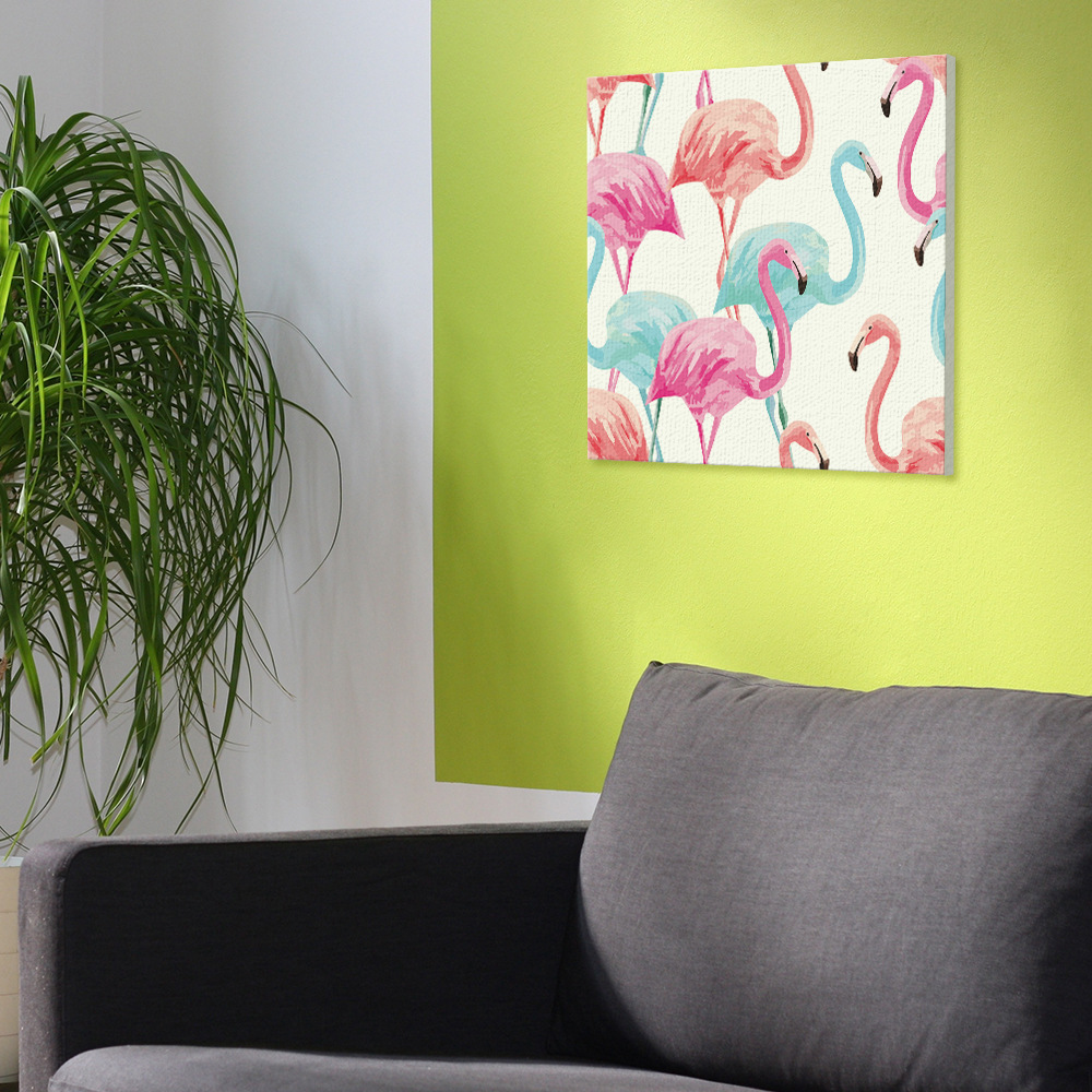 HAOCHU Gifts Wall Art Pink Flamingo Love Canvas Painting Girl Room ...
