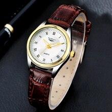 2016 Moda Casual Reloj de Las Mujeres Vestido de Las Señoras de Cuero de Lujo de Oro Romana Dial Reloj de Pulsera de Cuarzo Resistente Al Agua Para Las Mujeres Montre Femme