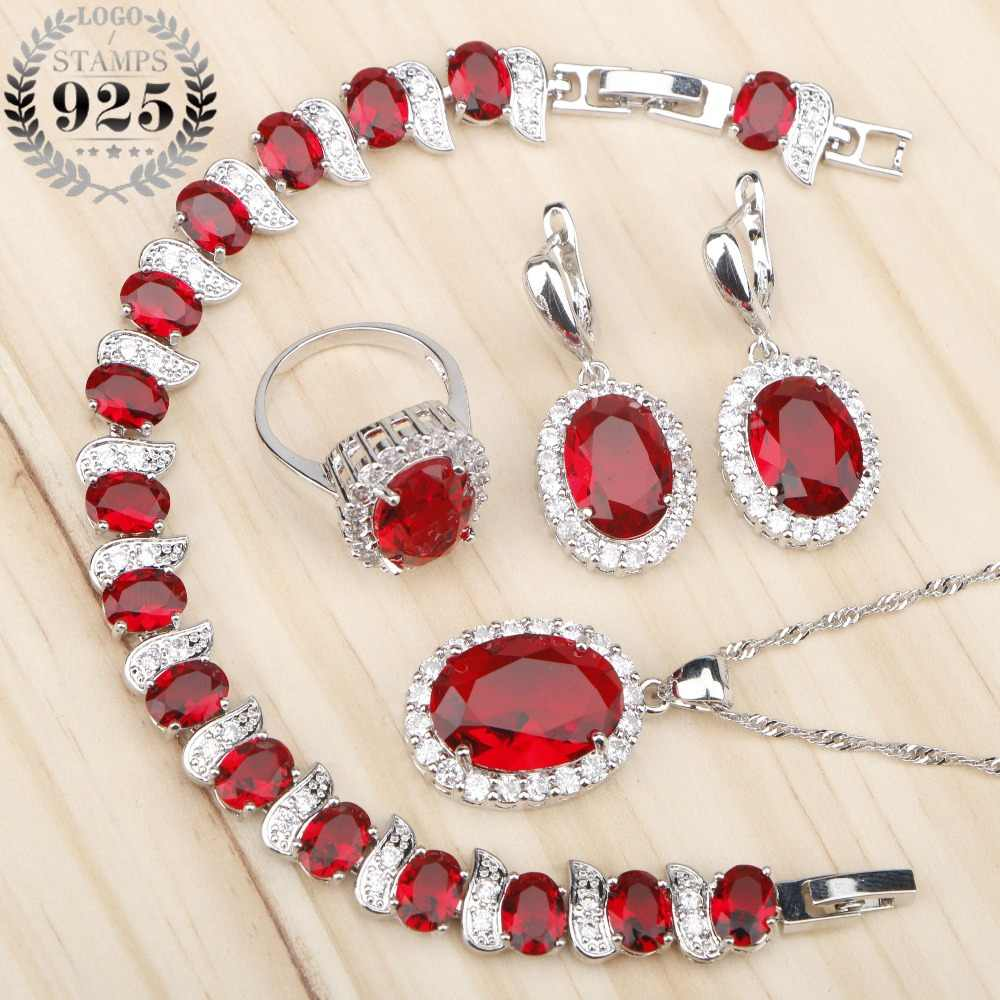 Costume Silver 925 Bridal Jewelry Sets Women Red Stones White Zircon Earrings/Rings/Pendant/Necklace/Bracelets Jewelery Gift Box