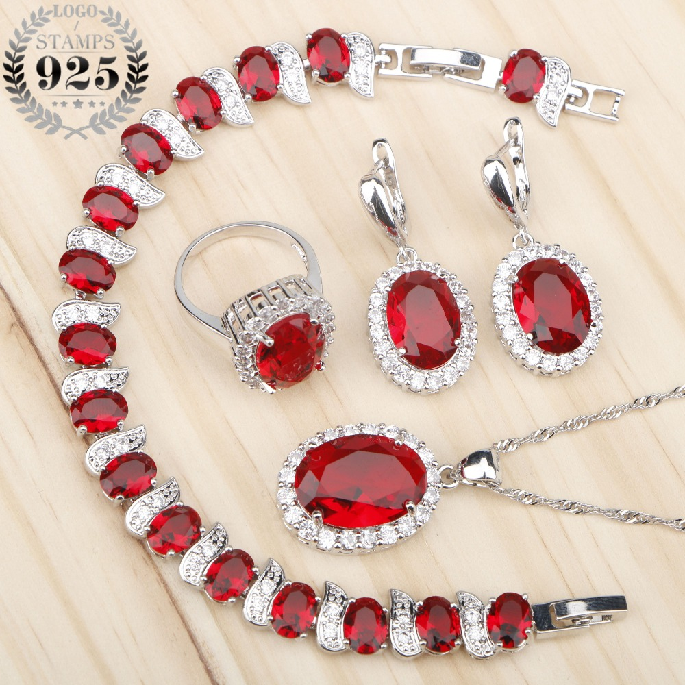 Costume Silver 925 Bridal Jewelry Sets Women Red Stones White Zircon Earrings/Rings/Pendant/Necklace/Bracelets Jewelery Gift Box green stones white zircon women silver 925 jewelry sets earrings pendant necklace rings bracelets for bridal set free box