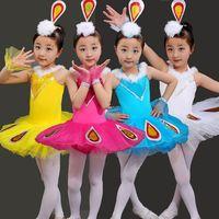 New Children S Ballet Dancing Dress Girls Ballet Tutu Costume Short Sleeve Leotard Gymnastics Kids Peacock