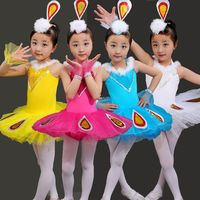 New Children S Ballet Dancing Dress Girls Ballet Tutu Costume Short Sleeve Leotard Gymnastics Kids Peacock