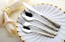 24pcs Stainless Steel Flatware Sets Gold Plated Cutlery Set Dinner Set Tableware Silverware Dinner Fork Spoon Knife