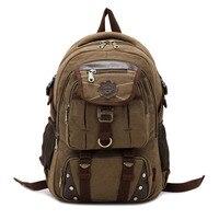 KAUKKO New fashion men's backpack vintage canvas backpack school bag men's travel bags large capacity travel laptop backpack bag