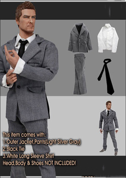 1/6 Grey Suit Clothes Set Model Coat Pants Shirt with Tie for 12''Bodies Accessories DIY 1 6 the navy seal cqb combat tactical clothes set for 12 bodies